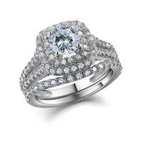 Wedding Ring NewsHe 2 Pz solido argento 925 femminile Imposta Victorian dei monili di stile blu pietre laterali Classic per le donne CX200622