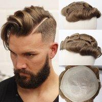 Perruques 8x10 Mince PU Cheveux humains Toupée pour hommes Remy Brésilien Remy Système de remplacement de cheveux 6 pouces Burly Brown # 8R Wigs Toupee Homme