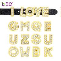 130 pcs 8mm ouro cor de corrediça letras encantos inglês alfabeto A-z apto pulseira pulseira / nome de estimação colarinho colarinho de cão lssl07 * 130