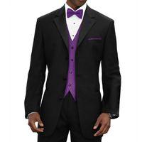 Трехкомпонентный Black Wedding Groomsmen Tuxedos 2019 Последние Классического Зубчатого отворот сшитые Мужские костюмы фиолетового жилет куртка штаны