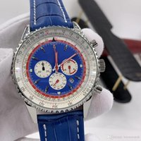 우아한 블루 다이얼 폴릿 손목 시계 망 시계 쿼츠 크로노 그래프 날짜 빛나는 46mm 시계 Silde Rule Markers 가죽 스트랩 손목 시계