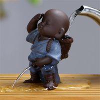 Çay Evcil Süsleme Çin Halk Sanat Mor Kil Dekorasyon El Sanatları Figürinleri Küçük Monk YIXING Erkek Bebek Sprey Çiş Çay Aksesuarları Promosyon