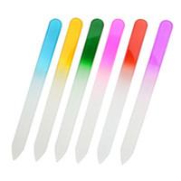 Limes à ongles en verre Ongle manucure soins de fichiers de fichiers Outils Set, tampon couleur arc-en-Gradient manucure (14 x 1,2 x 0,3 cm)