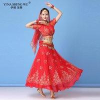 Steg Wear Belly Dance Costume Set Sari Bellydance Skirt Kvinnor Chiffon 7PCS (Headpieces Veil Top Belt Halsband Örhängen)