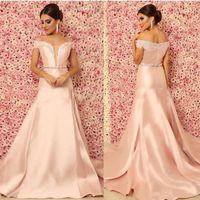 Fard à joues rose sexy robes de soirée sirène Encolure perlée cristal Sash balayage train satin col en V profond arabe Prom Party Pageant Robes
