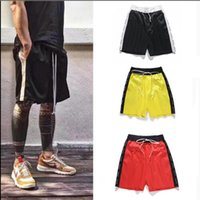 KANYE Justin High Street Shorts Drawstring Mens Shorts Contrast Color Stitching Pants Europe and the United States Style
