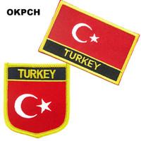 Turquía bordado Hierro en bandera de parches bandera nacional para la ropa DIY Decoración PT0075-2