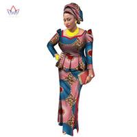 Африка Стиль Базен Riche Платья для Женщин Две Части Набор Женщин Топы с Длинным Рукавом и Длинная Юбка Африканской Печати Плюс Размер WY2438