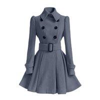 Kadın Yün Karışımları 2021 Sonbahar Kış Kadın Palto Ince A-Line Katı Kanat Kruvaze Yaka Boyun Orta-Uzun Moda Sıcak Trençkot
