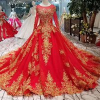 Red Luxury Evening Dresses With Golden Lace O- Neck Long Tull...