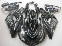 Anpassa injektionsfeudings kit för Kawasaki Ninja ZX-14 2006 2007 2008 ZX14R 06 07 08 ZX-14R vita flamma ABS motorcykel fairing delar