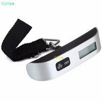 50kg Capacidad Digital Mini escala del equipaje de mano de la pantalla LCD escala electrónica electrónico escala colgante Termómetro un peso de 30pcs nuevo dispositivo