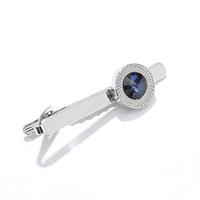 Геометрические круглый синий горный хрусталь галстук клипы для мужчин Бизнес формальная одежда сплава галстук Застежка мода посеребренные ювелирные аксессуары Оптовая