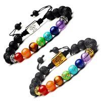 Yoga hecho a mano 7 Chakra árbol de la vida de la lava Cuentas de piedras multicolores del encanto de las pulseras de cuerda pulsera Mujeres Hombres brazaletes de las pulseras