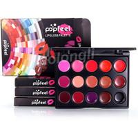 Popfeel Mini Lip Gloss Palette 15 colores Lipgloss Maquillaje de labios Nude Color Rojo Morado Rosa Crema hidratante Impermeable Brillo de labios Belleza Cosmética