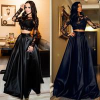 Deux pièces robes de bal manches longues A-ligne Africain 2K19 pure robe de soirée robes de soirée Noir Fille Couple Jour Plus La Taille Robes De Festa