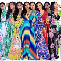 Женщины Богемия Макси Платья Дизайнер с цветочным принтом Boho Sexy V-образным вырезом с длинным рукавом Пояс Шифон Летний повседневный Свободный Пляж Вечернее платье