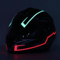Motorrad-Sturzhelm-Licht-Streifen LED-Nacht-Signal-Licht leuchtende Streifen Mode Modified Glühende Bars - Rot