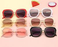 INS детские солнцезащитные очки Мода мальчики девочки большая квадратная рамка солнцезащитные очки анти ультрафиолет UV400 дети прохладный пляж солнцезащитные очки A2075