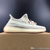 Top Hot Authentic Sply y350 V2 Citrin Primeknit Cloud White Kanye West Hombres Mujeres Zapatos para correr 3M Zapatillas reflectantes FW3042 FW3043 Con caja