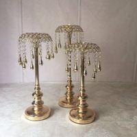 Ny stil bröllopsbordet centerpiece ljushållare med hängande kristaller för bröllop dekorationer fest evenemang dekoration senyu0261
