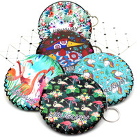 Couro com zíper bolsa de moedas de forma redonda de padrão animal bonito redonda Handcrafted bolsa de bolsa com chaveiro para mulheres / meninas promoção !!!