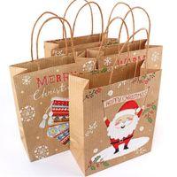 12pcs de Noël Sacs cadeaux Père Noël sacs en papier kraft Sac Kids Party Favors Box Décorations de Noël pour la maison Nouvel An Navidad