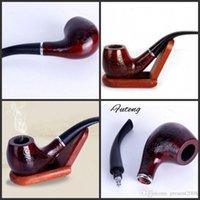 Sculpté Smoking pipe de tabac Rétro Enchase en bois Pipes filtre de cigarette cigare Cadeaux durables Objets de collection Haute Qualité AL023