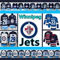Winnipeg Jets Jersey # 26 Blake Wheeler # 29 Patrik Laine # 33 Dustin Byfuglien # 55 Mark Scheifele الهوكي الفانيلة