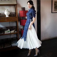 2019 Luxe Dentelle ao dai Robes Vêtements femme sexy vietnam cheongsam traditionnel costume deux pièces modifiée qipao robe taille plus