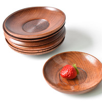 Salsa de soja placa de madera Sushi Bandeja para servir Vajilla Platos Placa pequeña y redonda cocina del restaurante Casa y jardín YQ00375