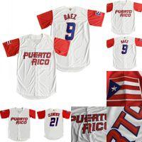 2017 Porto Rico Monde Maillot 9 Javier Baez 21 Roberto Clemente 1 Carlos Correa 4 Yadier Molina 15 Carlos Beltr Baseball Jersey
