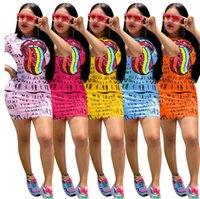 Sommer Frauen Kleid Buchstaben und Lippen drucken Sexy Kleid Minirock Trendy Split Kleider Casual Kurzarm T-Shirt Kleid Kleidung S-XXXL D61605