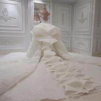 Abiti da sposa di lusso Abiti da sposa 2020 pizzo fuori dalla spalla Cappella Abiti da sposa con treno staccabile Custom Made Matrimonio Vestidos
