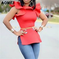 Frauen-rote Blusen Party Wear Shirts Tops Rüschen Split Damen Mode Schlank Tuniken Casual 2019 Classy Weiblichen Frühling Sommer Solide Tops Blusa
