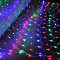 400 LED RGB Fairy String Light 3mx3m Net Mesh Garland Lámpara Navidad Año Nuevo Jardín Cortina Banquete de boda Decoración navideña Iluminación EE. UU. UE REINO UNIDO AU