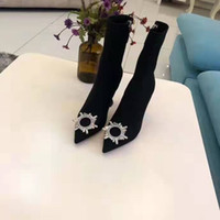 Yeni Marka Amina Moda Muaddi Begum Detay Boots Kadınlar Deri Kristal Kauçuk Siyah Ayakkabı İtalya Orijinal Fabrika Boots Süslenmiş