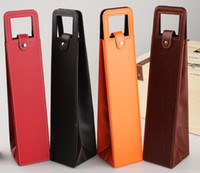 Portable PU borse in pelle di vino bottiglia di vino rosso Imballaggio la cassa del regalo Scatole con maniglia Accessori puntelli decorazione partito FFA3058