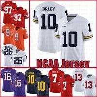 Michigan Wolverines 10 Tom Brady American football Jersey 10 Tom Brady 97 Nick Bosa 26 Saquon Barkley Jerseys men's dult svcrfeg