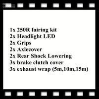 1x250R carenatura kit 2xHeadlight LED 2xGrips 2xAxlecover 2xRear DELL'ABBASSAMENTO coperchio frizione 3x freno 3x involucro dello scarico (5m, 10m, 15m)