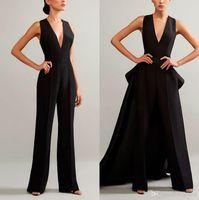 Vestidos de noche elegantes de mansillos negros con falda desmontable en V cuello vestidos de fiesta más tamaño mujer vestidos de fiesta