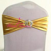 Vendas de la silla 100pcs metálico brillante de oro Spandex Lycra del marco con la corona hebilla Bronceador banquetes la silla del estiramiento pajaritas para la boda