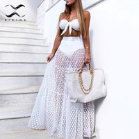 Vestido de playa de lunares sexy Mujeres de cintura alta cubierta de malla para arriba Transparente traje de baño Bikini Cover Up Summer Beachwear Plus Size NUEVO T200530