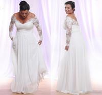 Lange Ärmel Brautkleider Modest V-Ausschnitt Applique Strand Land Brautkleider weg von der Schulter Brautkleider Vestido De Novia
