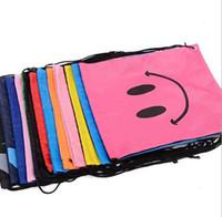 Bolso de escuela Sonrisa Impresión de la cara Cordón Trolls Mochila para niños Bolso con cordón impermeable Cubos de embalaje Gran capacidad Mochila Bolsa de regalo