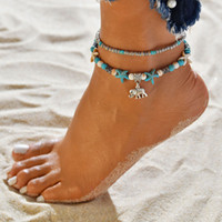 Beach Conch Tree of Life Yoga Shell Shell Elephant Anklet Catena a pedale Multilayer Anklets Bracciali Gioielli di moda