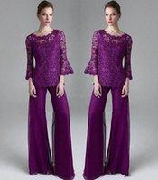 Фиолетовый кружева мать невесты брючный костюм Sheer Jewel шеи длинными рукавами Свадебные платья для гостей плюс размер шифон Матери Вечерние платья 82