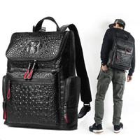 Couro de alta qualidade Crocodilo impressão mochila homens saco de designers Famosos mochila de lona dos homens saco de viagem mochilas laptop bag