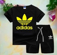 ADlDAS Little Kids Sets 1-7T T-shirt e pantaloni corti per bambini 2 Pz / set Baby Boys Girls Puro cotone giallo Stampa stile per gli insiemi di estate