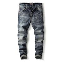 Мужские джинсы итальянские моды мужчины старинные ретро стиль тонкий пригонки разорвал бренду хлопчатобумажного джинса Homme Balsplin